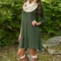 Women Casual Green Three Quarter Sleeve Elegant Fall O Neck Dresses