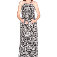 Due Maternity Lauren Pregnancy And Beyond Maxi Dress - Black/White