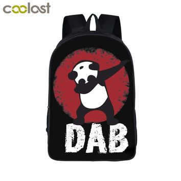 Funny Cartoon Dabbing Panda Cat Backpack For Teens Boys Kids Book Bag