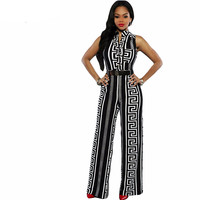 Plus Size Long Jumpsuits For Women Print Gold Belted Rompers Womens Jumpsuit 2017 Summer Overalls Playsuits Macacao