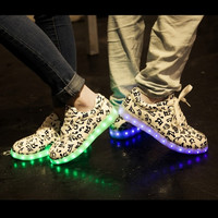 8 colors Led Glowing shoes USB lights charge Blue For Male and Green for Female Couple Christmas Gifts = 1930002372