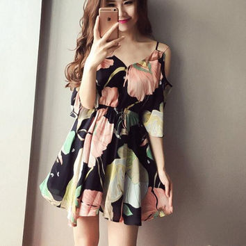 New Summer dress temperament Woman Off Shoulder flowers pattern short sleeve dress-0704