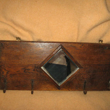 Antique  oak    Coat Rack, Hall Tree, w/ beveled  mirror copper-brass hooks