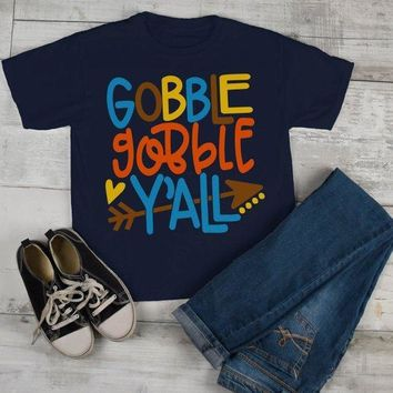 Kids Thanksgiving T Shirt Gobble Gobble Y'all Tee Colorful Turkey Day Shirts Toddler Boy's Girl's