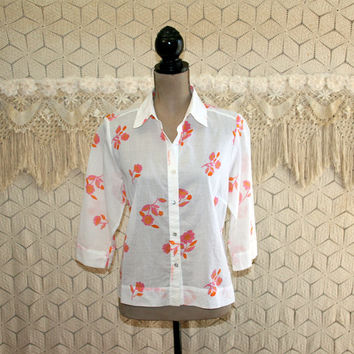 Sheer White Button Up Blouse Floral Print Shirt Casual Womens Tops Loose Fitting Pink Orange Flower Patterned Size Medium Womens Clothing
