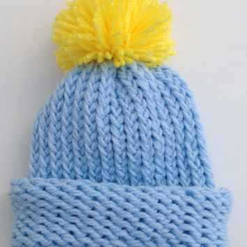 Cinderella Inspired Disney Princess Blue and Yellow Baby Infant Knitted Winter Hat