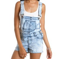 Lt Acid Wash Acid Wash Denim Shortalls by Charlotte Russe