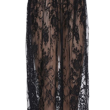 ROMWE Semi-sheer Black Lace Skirt