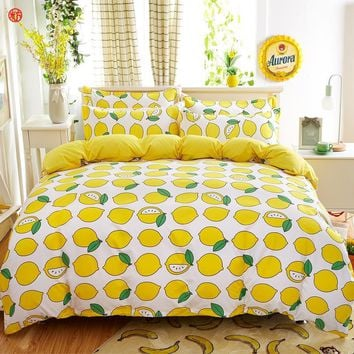 Home textile lemon bedding set twin king size fruit watermelon bed sheet duvet cover bedspread for adult kids gift five size