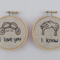 Star Wars, I Love You, I Know, Mini Embroidery Set of 2