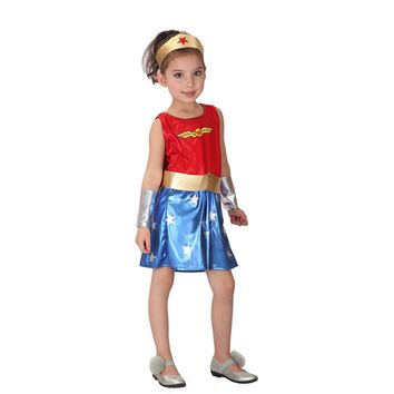 superhero costumes supergirl costume kids child carnaval girl fancy dress fantasia wonder woman halloween costume for kids grils