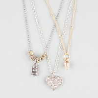 Full Tilt 3 Row Dainty Rhinestone Heart Necklace Gold One Size For Women 24487362101