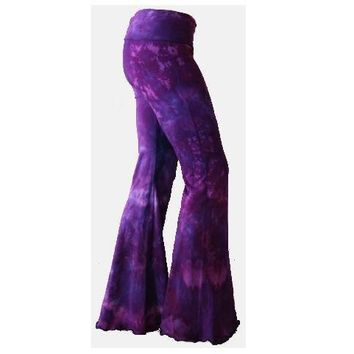 Purple Tie Dyed Yoga Flares rave pants Choose Size