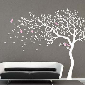 White Tree wall decal nursery wall decal baby girl wall decals kids room wall decor nature tree birds vinyl wall decal wall art mural