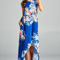High Low Floral Maxi Dress - Royal