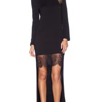 Long Sleeve Bodycon Lace Short Front Mini Dress