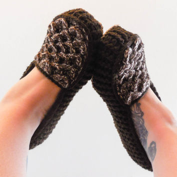 Dark Brown Crochet Slippers -  Adult Sizes - Crocodile Stitch Loafers with Hemp Soles - Made to Order
