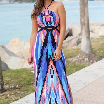 Blue and Coral Printed Maxi Dress with Cut Outs
