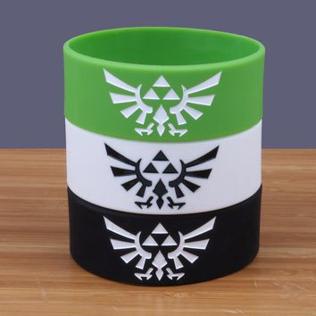 2016New 60PCS/Lot Black White Green silicone bracelet china Wide rubber wristband with debossed The Legend Of Zelda rubber band