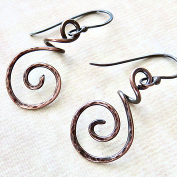 Dainty Copper Earrings - Hammered Copper Coiled Earrings