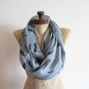 SCARF // Gray scarf,  Mustache Scarf, Infinity Loop Scarf,  Mustaches Wide Scarf, Neckwarmer, Timeless, unisex, cotton scarf.
