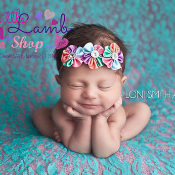 Rainbow Newborn Girl Flower Kids Baby Hair band, Baby Headband, newborn photography props, Summer Spring, Canada