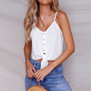 Bandage Chiffon Tank Top Female Summer Sleeveless Camis Women's Crop Shirt Casual Crop Top Solid Color Vest Blouse