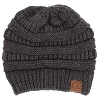 CC Beanie Cable Knit Beanie in Melange Charcoal Grey HAT-20A-MELANGE