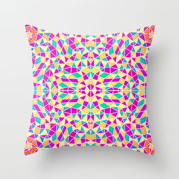 Geometric Multi Color Kaleidoscope Throw Pillow by AEJ Design