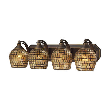 ELK 4 Light Vanity In Aged Bronze And Gold Mosaic Glass - 570-4B-GLD