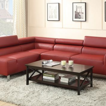 Poundex F7300 2 pc chelsea ii collection burgundy bonded leather sectional sofa set with adjustable headrests