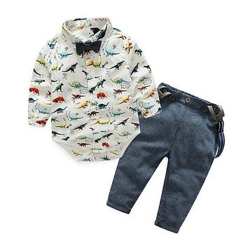 Baby Boys Clothing Sets Summer Fashion Infant Clothing Toddler Gentleman Suits Long Sleeve Shirts + Suspenders Pant