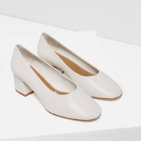 LEATHER BALLERINAS WITH HEEL - View all-SHOES-WOMAN | ZARA United Kingdom