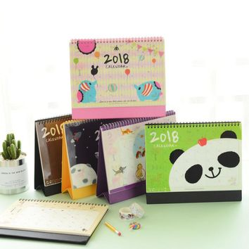 2018 Mini table calendars desk planner Girl calendar paper Stationery Office School Supplies February 2017 to December 2018
