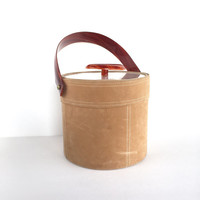 Vintage Georges Briard Faux Suede and Lucite Ice Bucket with Tongs