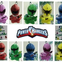 Unique Set of 10 Power Rangers Christmas Tree Ornaments Featuring Red Power Ranger, Yellow Power Ran