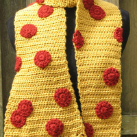 Crocheted Giant Pepperoni Pizza Scarf, Ready to Ship