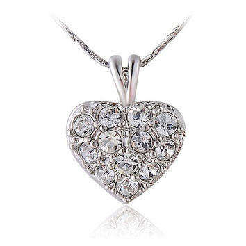 ITALINA Exquisite 18K RGP Diamond Necklace (White)
