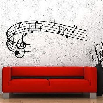 Wall Vinyl Music Notes Clef Rock Pop Song Singing Guaranteed Quality Decal Unique Gift z3535