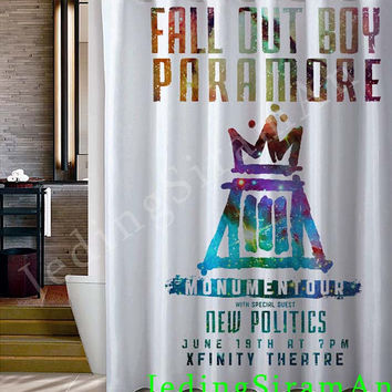 Fall Out Boy Paramore Monumentour white Shower Curtain
