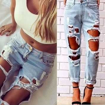 ONETOW Sexy Women Destroyed Ripped Distressed Slim Denim Pants Boyfriend Jeans Trousers Day-First?