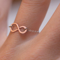 Infinity Ring, Rose Gold filled & Sterling Silver infinity Ring - FREE SHIPPING