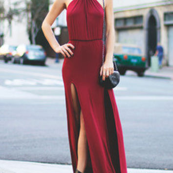 Burgundy Halter Slit Maxi Dress