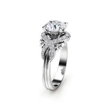Moissanite Engagement Ring White Gold Ring Unique Engagement Ring Unique Moissanite Ring