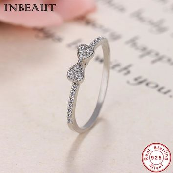 Women Elegant Wedding Ring Band 100% 925 Sterling Silver Sparkling Minnie Zircon Cute Bow Stack Rings 2018 Tiny CZ S925 Jewelry