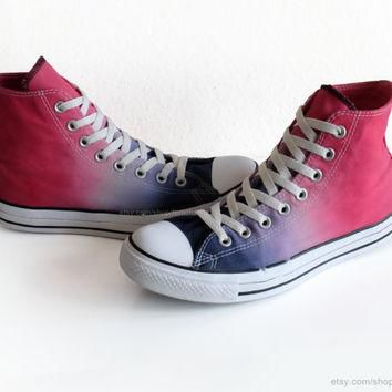 Cherry red to indigo blue ombre dip dye Converse, upcycled All Stars, transformed vint