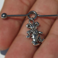 Grateful Dead Dancing Bear Industrial Barbell 14ga Scaffold Upper Ear 316L Surgical Stainless Steel