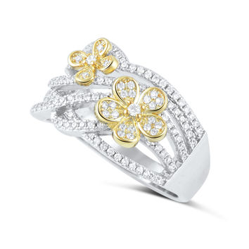 Sterling Silver Simulated Diamond Two Tone Flower Ring