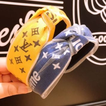 Louis Vuitton LV &Supreme Personality Fashion New Letter Monogram Print Retro Gauze Knot Headband Hair Accessories