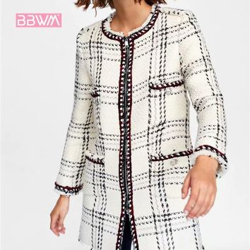 Trendy 2018 autumn new small fragrance twill soft long middle coat female  Round neck plaid jacket AT_94_13